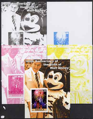 Angola 2001 Birth Centenary of Walt Disney #10 s/sheet - Disneyland Fireworks & Ronald Reagan - the set of 5 imperf progressive proofs comprising the 4 individual colours...