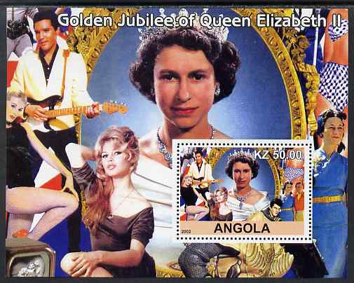 Angola 2002 Golden Jubilee of Queen Elizabeth II #2 perf s/sheet unmounted mint. Note this item is privately produced and is offered purely on its thematic appeal