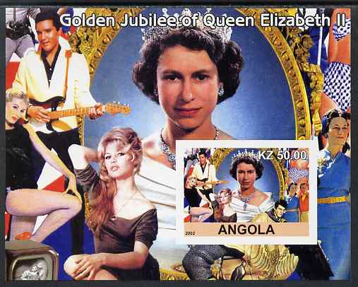 Angola 2002 Golden Jubilee of Queen Elizabeth II #2 imperf s/sheet unmounted mint. Note this item is privately produced and is offered purely on its thematic appeal