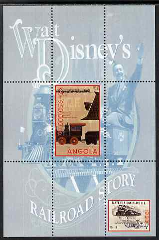 Angola 1999 Walt Disney's Railroad Story #3 perf s/sheet unmounted mint, stamps on personalities, stamps on films, stamps on cinema, stamps on movies, stamps on disney, stamps on railways