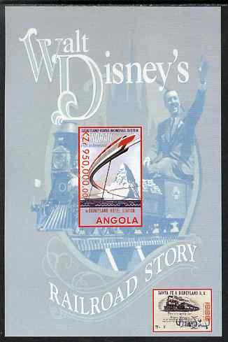 Angola 1999 Walt Disney's Railroad Story #2 imperf s/sheet unmounted mint