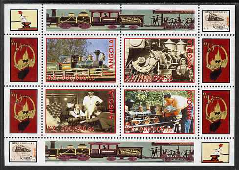 Angola 1999 Walt Disney's Railroad History #1 perf sheetlet containing 4 values unmounted mint