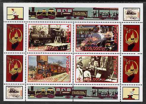 Angola 1999 Walt Disney's Railroad History #2 perf sheetlet containing 4 values unmounted mint
