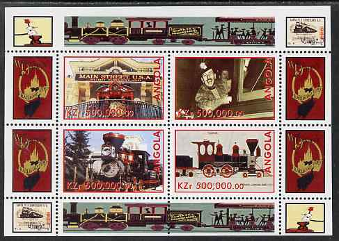 Angola 1999 Walt Disney's Railroad History #4 perf sheetlet containing 4 values unmounted mint