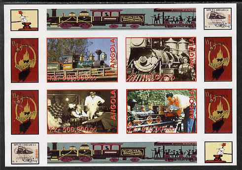 Angola 1999 Walt Disney's Railroad History #1 imperf sheetlet containing 4 values unmounted mint