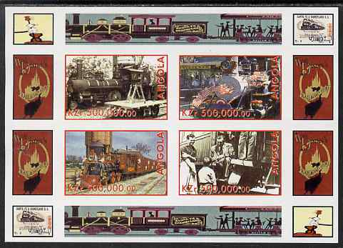 Angola 1999 Walt Disney's Railroad History #2 imperf sheetlet containing 4 values unmounted mint