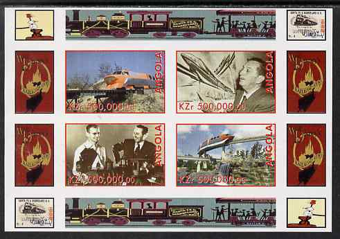 Angola 1999 Walt Disney's Railroad History #3 imperf sheetlet containing 4 values unmounted mint