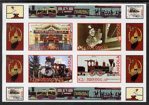 Angola 1999 Walt Disney's Railroad History #4 imperf sheetlet containing 4 values unmounted mint