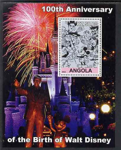 Angola 2002 Birth Centenary of Walt Disney #06 perf s/sheet - Characters incl Charlie Chaplin & Disneyland Fireworks, unmounted mint. Note this item is privately produced...