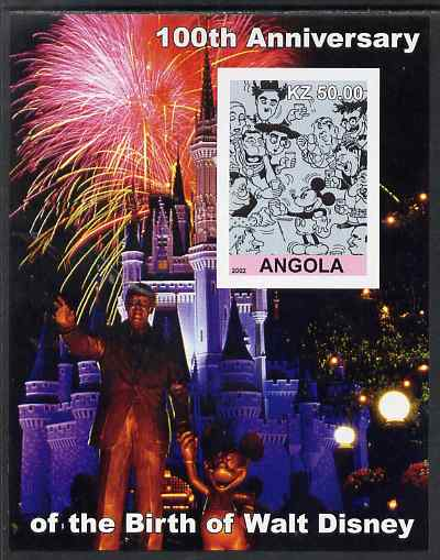 Angola 2002 Birth Centenary of Walt Disney #06 imperf s/sheet - Characters incl Charlie Chaplin & Disneyland Fireworks, unmounted mint. Note this item is privately produc...