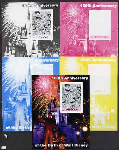 Angola 2002 Birth Centenary of Walt Disney #06 s/sheet - Characters incl Charlie Chaplin & Disneyland Fireworks - the set of 5 imperf progressive proofs comprising the 4 individual colours plus all 4-colour composite, unmounted mint