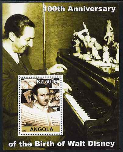 Angola 2002 Birth Centenary of Walt Disney #07 perf s/sheet - Disney reading sheet music & at the Piano, unmounted mint. Note this item is privately produced and is offered purely on its thematic appeal