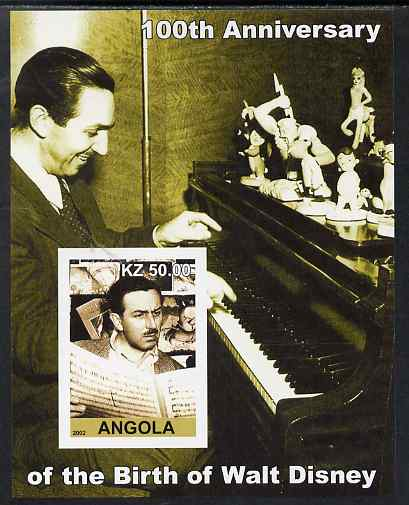 Angola 2002 Birth Centenary of Walt Disney #07 imperf s/sheet - Disney reading sheet music & at the Piano, unmounted mint. Note this item is privately produced and is offered purely on its thematic appeal