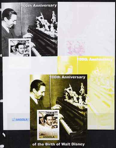Angola 2002 Birth Centenary of Walt Disney #07 s/sheet - Disney reading sheet music & at the Piano - the set of 5 imperf progressive proofs comprising the 4 individual colours plus all 4-colour composite, unmounted mint