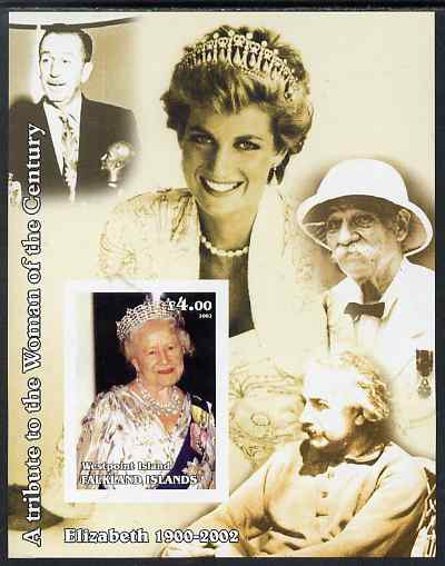 Westpoint Island (Falkland Islands) 2002 A Tribute to the Woman of the Century #1 Queen Mother imperf souvenir sheet unmounted mint (Also shows Diana, Einstein, Walt Disney & Akbert Schweitzer). Note this item is privately produced and is offered purely on its thematic appeal, it has no postal validity