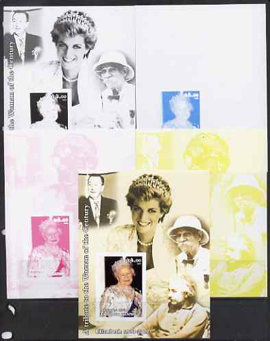 Westpoint Island (Falkland Islands) 2002 A Tribute to the Woman of the Century #1 Queen Mother souvenir sheet (Also shows Diana, Einstein, Walt Disney & Albert Schweitzer...