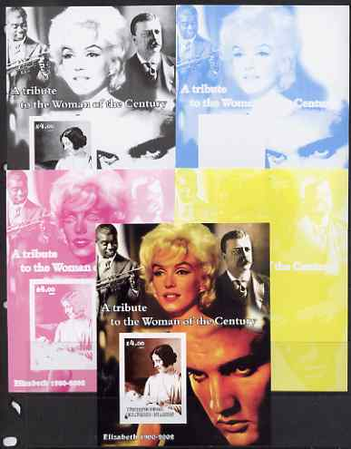 Westpoint Island (Falkland Islands) 2002 A Tribute to the Woman of the Century #3 Queen Mother souvenir sheet (Also shows Elvis, Marilyn & Louis Armstrong) - the set of 5 imperf progressive proofs comprising the 4 individual colours plus all 4-colour composite, unmounted mint