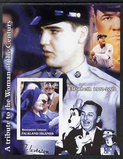 Westpoint Island (Falkland Islands) 2002 A Tribute to the Woman of the Century #4 Queen Mother imperf souvenir sheet unmounted mint (Also shows Elvis, Babe Ruth & Walt Di...