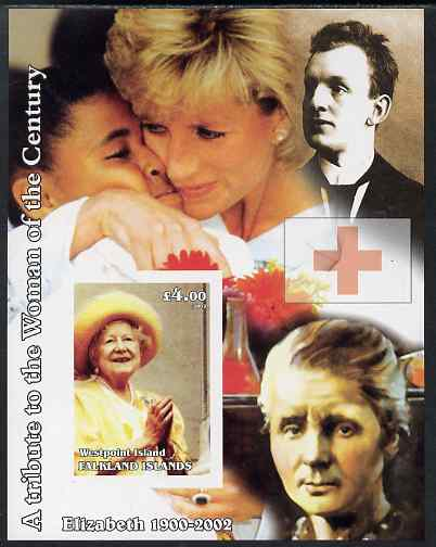 Westpoint Island (Falkland Islands) 2002 A Tribute to the Woman of the Century #5 Queen Mother imperf souvenir sheet unmounted mint (Also shows Diana & Marie Curie). Note...