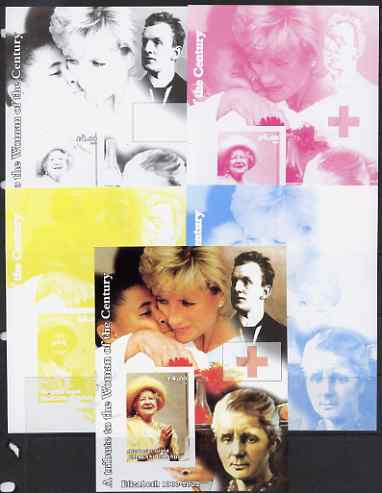 Westpoint Island (Falkland Islands) 2002 A Tribute to the Woman of the Century #5 Queen Mother souvenir sheet (Also shows Diana & Marie Curie) - the set of 5 imperf progr...