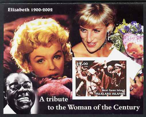West Swan Island (Falkland Islands) 2002 A Tribute to the Woman of the Century #1 Queen Mother imperf souvenir sheet unmounted mint (Also shows Marilyn, Diana & Satchmo)