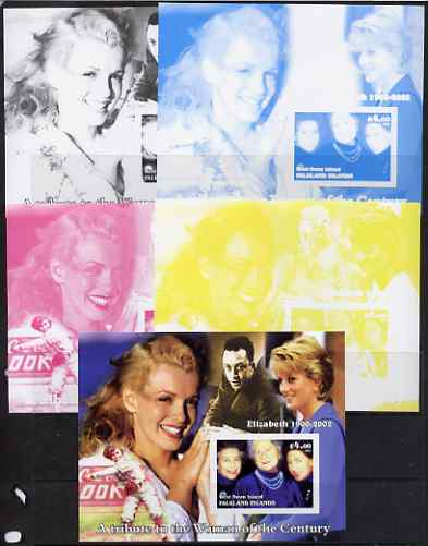West Swan Island (Falkland Islands) 2002 A Tribute to the Woman of the Century #3 Queen Mother souvenir sheet (Also shows Diana & Marilyn) - the set of 5 imperf progressive proofs comprising the 4 individual colours plus all 4-colour composite, unmounted mint