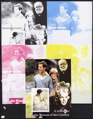 West Swan Island (Falkland Islands) 2002 A Tribute to the Woman of the Century #4 Queen Mother souvenir sheet (Also shows Charles, Diana, Churchill & Marilyn) - the set of 5 imperf progressive proofs comprising the 4 individual colours plus all 4-colour composite, unmounted mint