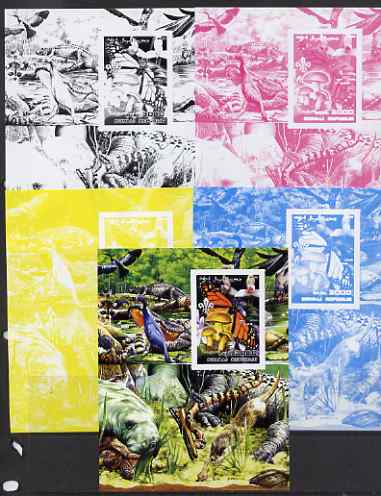 Somalia 2002 Butterflies, Orchids & Fungi #1 m/sheet with Scout Logo & various animals in background - the set of 5 imperf progressive proofs comprising the 4 individual colours plus all 4-colour composite, unmounted mint