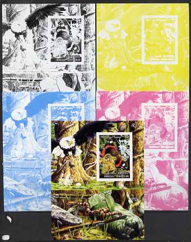 Somalia 2002 Butterflies, Orchids & Fungi #2 m/sheet with Scout Logo & various animals in background - the set of 5 imperf progressive proofs comprising the 4 individual colours plus all 4-colour composite, unmounted mint