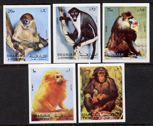 Sharjah 1972 Monkeys imperf set of 5 unmounted mint (Mi 1012-16B) , stamps on , stamps on  stamps on animals    apes