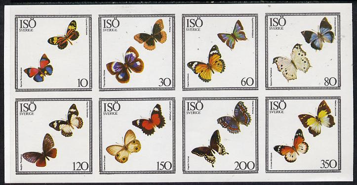 Iso - Sweden 1977 Butterflies imperf  set of 8 values (10 to 350) unmounted mint