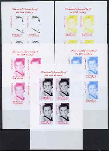 Somaliland 2000 Honoured Personality of the 20th Century - Princess Diana sheetlet containing 4 values - the set of 5 imperf progressive proofs comprising 2, 3 and all 4-colour composites, unmounted mint