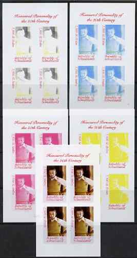 Somaliland 2000 Honoured Personality of the 20th Century - Walt Disney sheetlet containing 4 values - the set of 5 imperf progressive proofs comprising 2, 3 and all 4-colour composites, unmounted mint