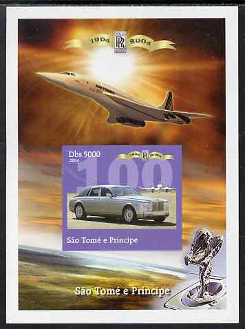 St Thomas & Prince Islands 2004 Rolls Royce Centenary #02 imperf s/sheet unmounted mint. Note this item is privately produced and is offered purely on its thematic appeal