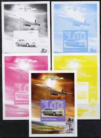 St Thomas & Prince Islands 2004 Rolls Royce Centenary #02 s/sheet - the set of 5 imperf progressive proofs comprising the 4 individual colours plus all 4-colour composite, unmounted mint