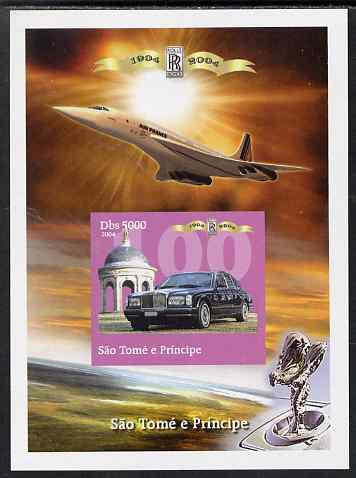 St Thomas & Prince Islands 2004 Rolls Royce Centenary #04 imperf s/sheet unmounted mint. Note this item is privately produced and is offered purely on its thematic appeal