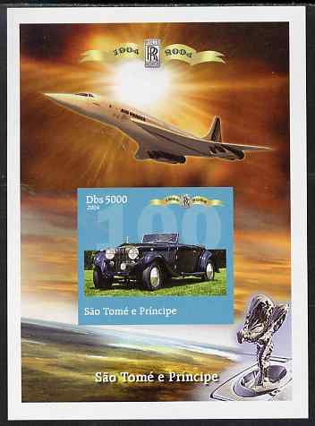 St Thomas & Prince Islands 2004 Rolls Royce Centenary #05 imperf s/sheet unmounted mint. Note this item is privately produced and is offered purely on its thematic appeal