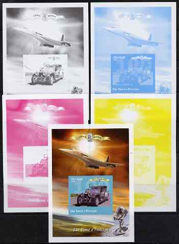 St Thomas & Prince Islands 2004 Rolls Royce Centenary #06 s/sheet - the set of 5 imperf progressive proofs comprising the 4 individual colours plus all 4-colour composite, unmounted mint