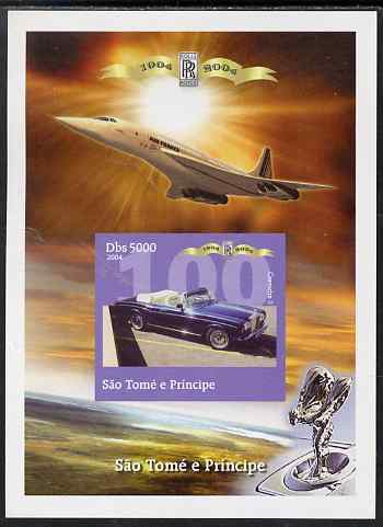 St Thomas & Prince Islands 2004 Rolls Royce Centenary #07 imperf s/sheet unmounted mint. Note this item is privately produced and is offered purely on its thematic appeal