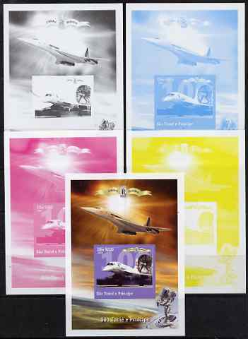 St Thomas & Prince Islands 2004 Rolls Royce Centenary #08 s/sheet - the set of 5 imperf progressive proofs comprising the 4 individual colours plus all 4-colour composite, unmounted mint