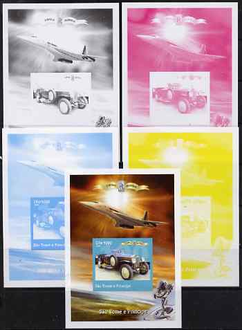St Thomas & Prince Islands 2004 Rolls Royce Centenary #09 s/sheet - the set of 5 imperf progressive proofs comprising the 4 individual colours plus all 4-colour composite, unmounted mint
