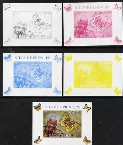 St Thomas & Prince Islands 2009 Nelson Mandela & Butterfly #1 individual deluxe sheet - the set of 5 imperf progressive proofs comprising the 4 individual colours plus al...