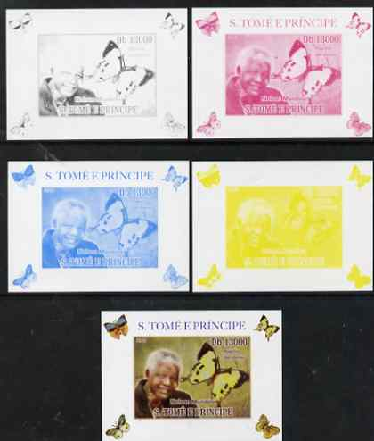 St Thomas & Prince Islands 2009 Nelson Mandela & Butterfly #3 individual deluxe sheet - the set of 5 imperf progressive proofs comprising the 4 individual colours plus al...