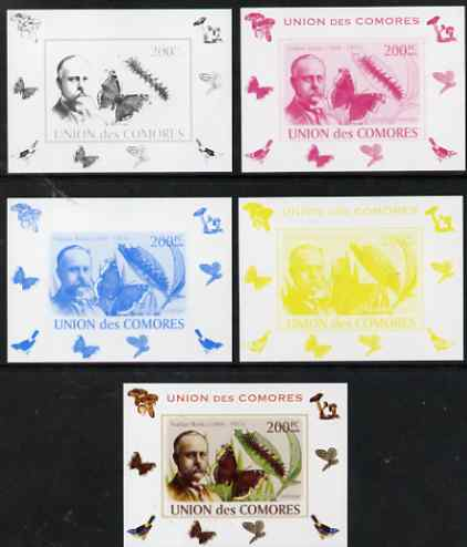Comoro Islands 2008 Entomologists & Butterflies #1 Nathan Banks individual deluxe sheet - the set of 5 imperf progressive proofs comprising the 4 individual colours plus all 4-colour composite, unmounted mint