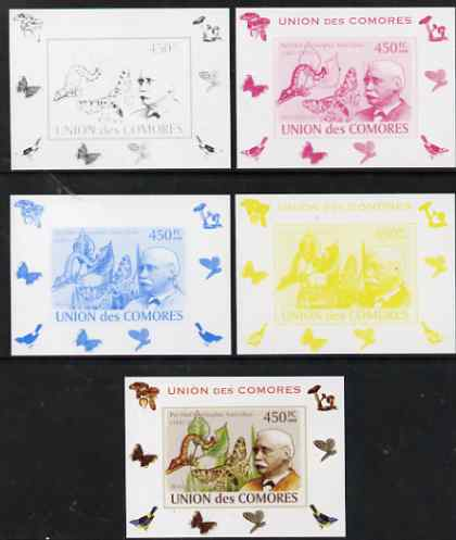 Comoro Islands 2008 Entomologists & Butterflies #6 Per Olaf Christopher Aurivillius individual deluxe sheet - the set of 5 imperf progressive proofs comprising the 4 indi...