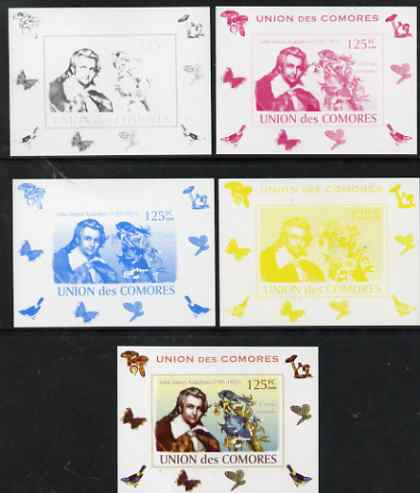 Comoro Islands 2008 Ornithologists & Birds #1 John James Audubon 125f individual deluxe sheet - the set of 5 imperf progressive proofs comprising the 4 individual colours plus all 4-colour composite, unmounted mint