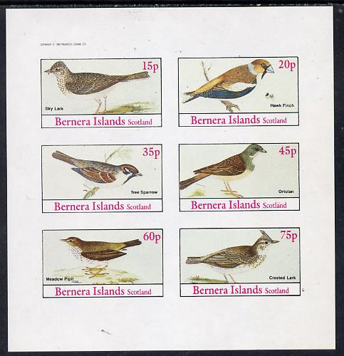 Bernera 1982 Birds #13 (Sky Lark, Pipit, Sparrow, etc) imperf set of 6 values (15p to 75p) unmounted mint