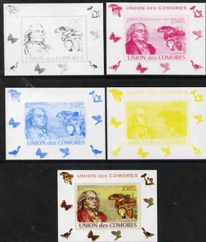 Comoro Islands 2008 Botanists & Fungi #6 Miles Joseph Berkeley individual deluxe sheet - the set of 5 imperf progressive proofs comprising the 4 individual colours plus all 4-colour composite, unmounted mint , stamps on , stamps on personalities, stamps on fungi, stamps on scientists, stamps on botany