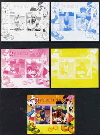 Benin 2007 Beijing Olympic Games #10 - Tennis (1) s/sheet containing 2 values (Disney characters in background) - the set of 5 imperf progressive proofs comprising the 4 individual colours plus all 4-colour composite, unmounted mint