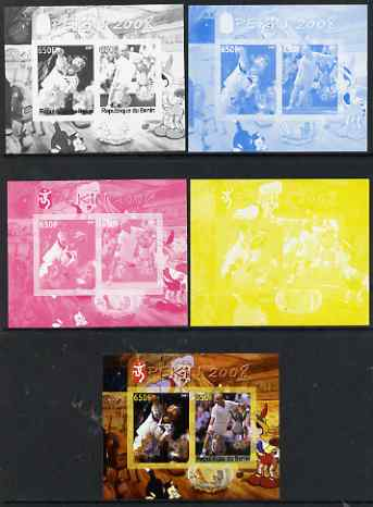 Benin 2007 Beijing Olympic Games #12 - Tennis (3) s/sheet containing 2 values (Disney characters in background) - the set of 5 imperf progressive proofs comprising the 4 individual colours plus all 4-colour composite, unmounted mint
